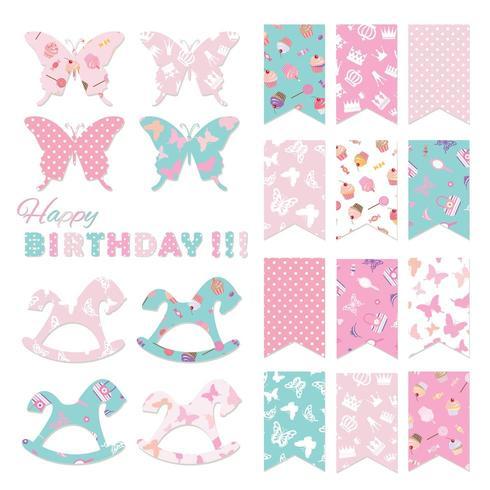 Drapeaux de bunting fixés pour la conception de fête d'anniversaire. vecteur