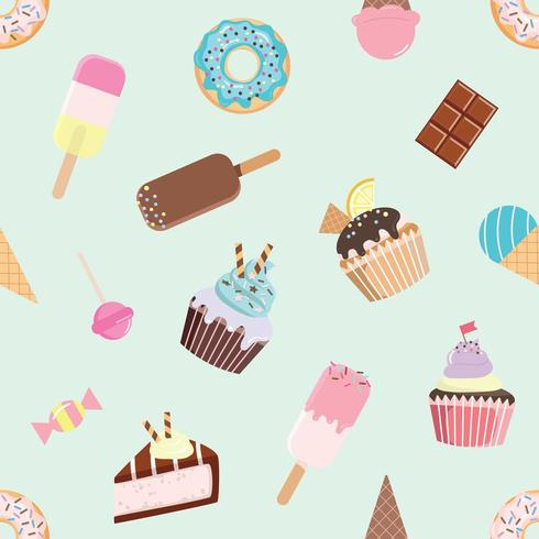 Birthday seamless pattern with different sweets. vector