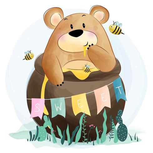 Netter kleiner Bär und Biene vektor