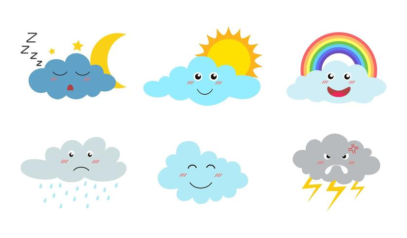 Sammlung Wolkenkarikatur Emojis mit verschiedenen Ausdrücken vektor