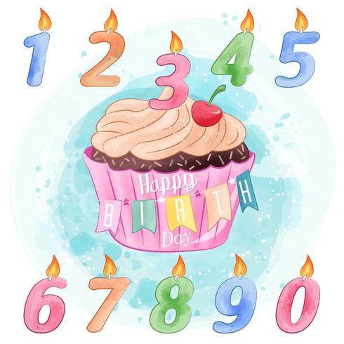 Geburtstags-kleiner Kuchen und Kerzen-Aquarell-Entwurf vektor