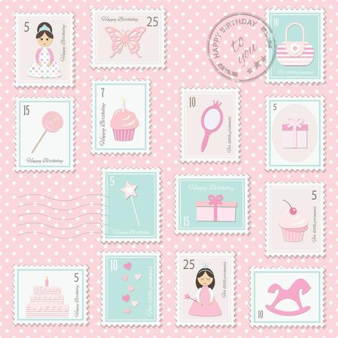Sellos postales de cumpleaños para niñas.