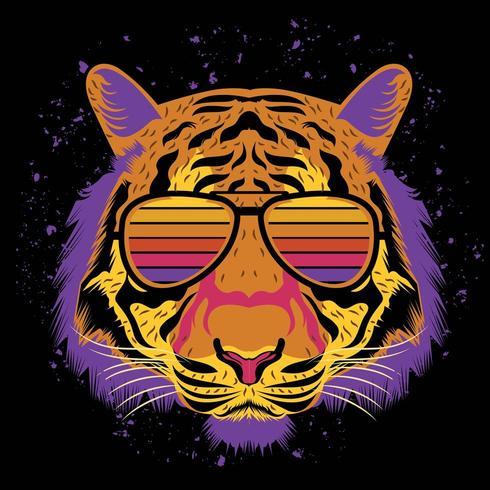 tiger face illustration for t shirt design vector
