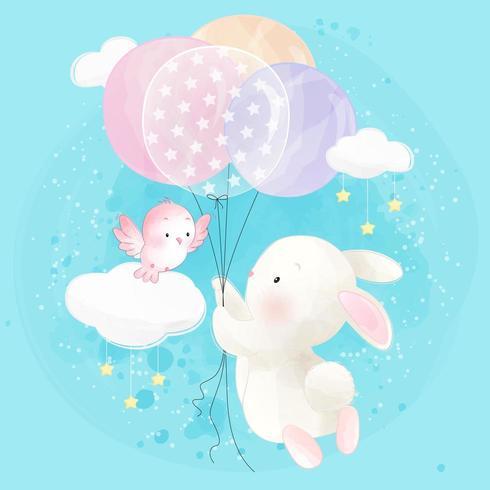 Nettes kleines Häschenfliegen mit Ballon vektor
