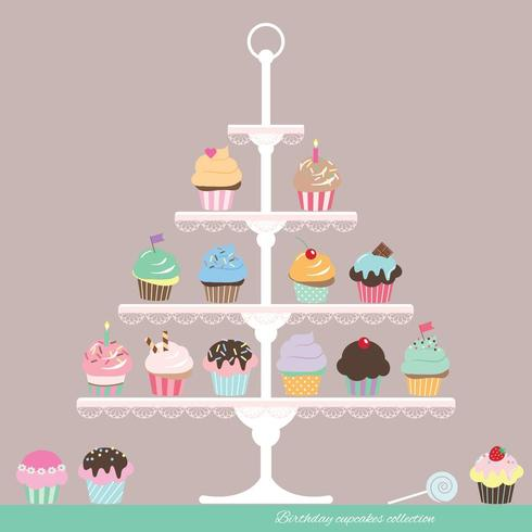 Cupcakes op standaard. Verjaardag ontwerp. vector