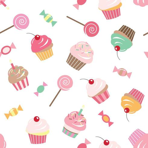 Birthday seamless pattern background with cupcakes vector