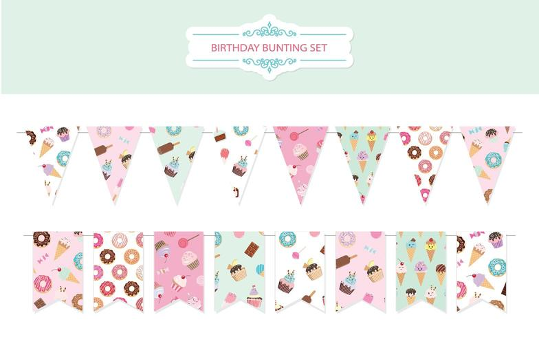 Birthday bunting flags set. vector