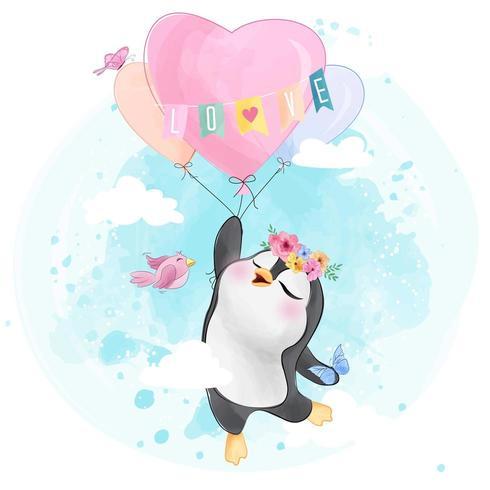 Pequeño pingüino lindo volando con globo de aire