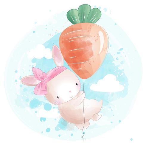 Leuk klein konijntje dat met wortelballon vliegt vector