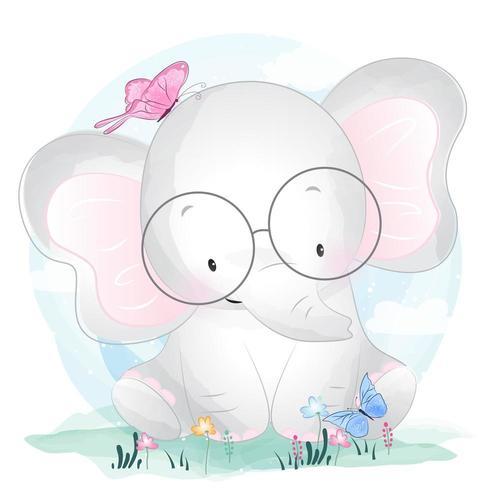 Lieve kleine olifant met glazen en vlinders vector