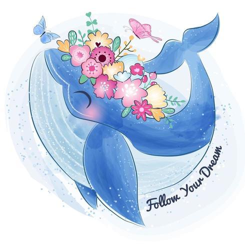 Netter kleiner Wal und Blume