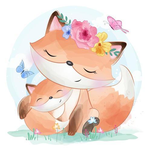 Netter kleiner Fuchs und Schmetterlinge