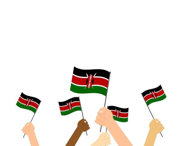 Handen met Kenia vlaggen vector