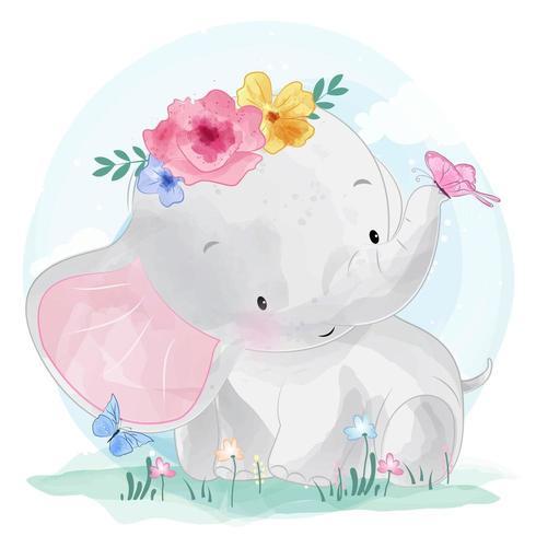 Netter kleiner Elefant und Schmetterlinge vektor