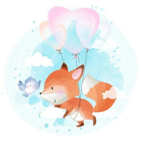 Schattige kleine foxy die met ballon vliegt vector