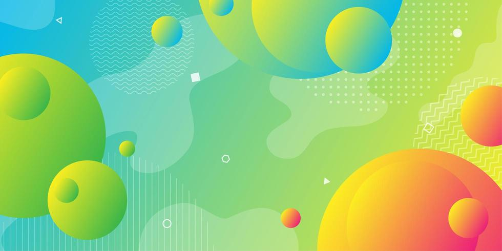 Bright yellow green and blue gradient background with overlapping 3d shapes  vector
