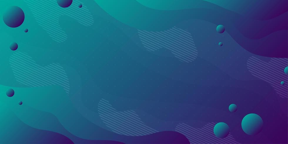 Steigungshintergrund des blauen Grüns mit Streifen und Kugeln vektor