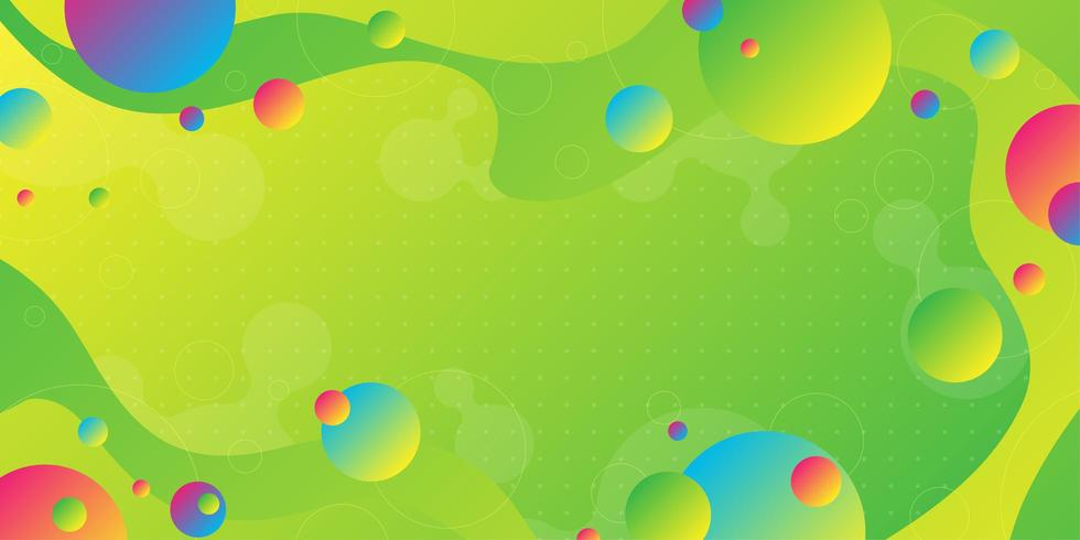 Bright green yellow gradient background with overlapping colorful shapes