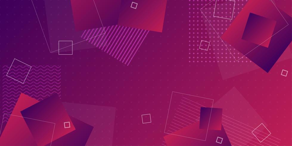 Mörklila röd lutningsbakgrund med överlappande geometriska former vektor