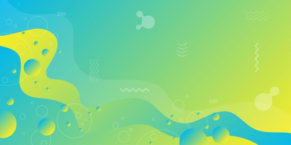 Gelbgrüne und blaue flüssige Steigungsformen vektor