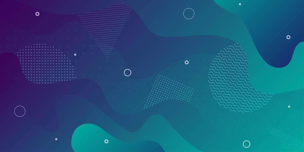Blauwgroene gradiënt vloeiende overlappende vormen vector