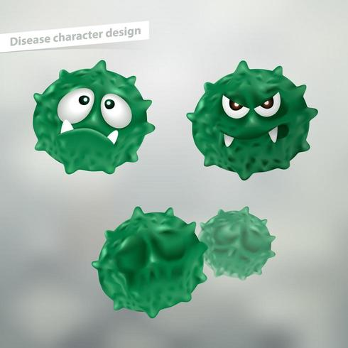 Set of germ or dirt cartoon characters