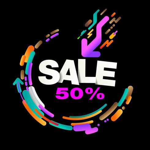 Heldere kleurrijke abstracte verkoopbanner op zwarte vector