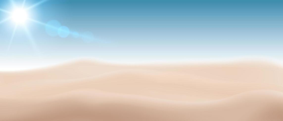 Blurred beach sand background with sun