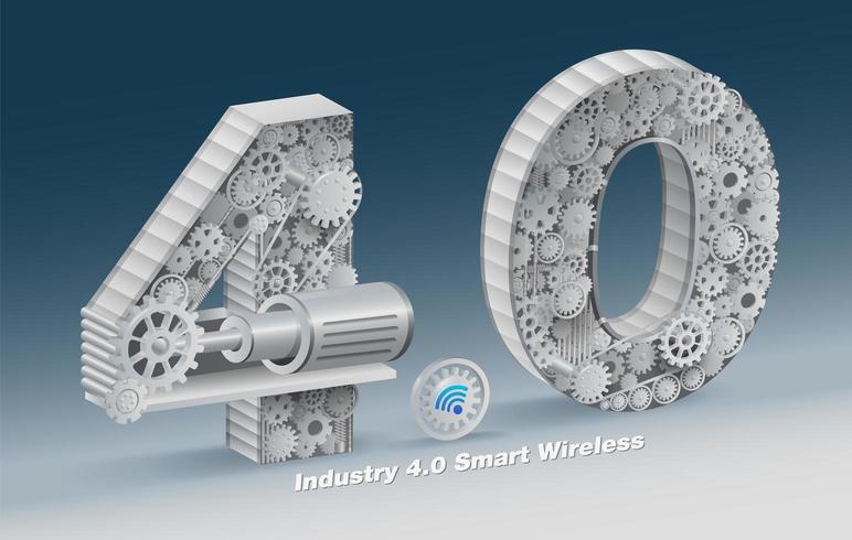 Projeto 3d industrial da engrenagem do número 4.0