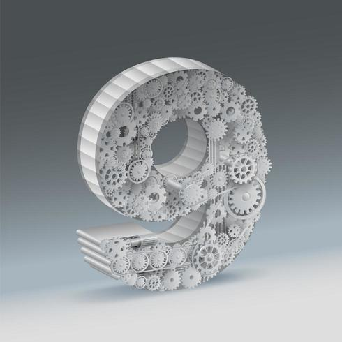 Industrieel 3d nummer 9 ontwerp