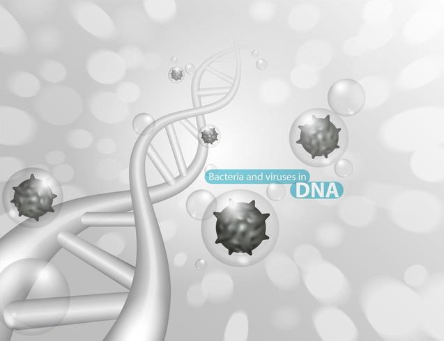 DNA-Struktur mit Keimen oder Viren vektor