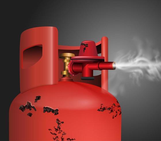 Ancien réservoir de gaz ou de produits chimiques rouge rouillé vecteur