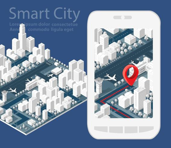 3d map isometric city vector