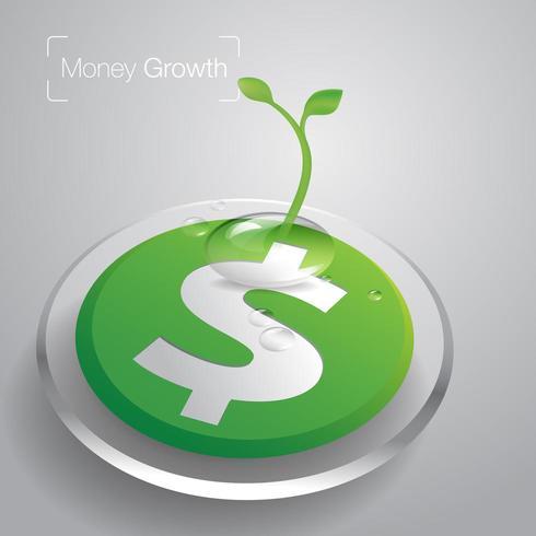Keimungsbäume auf grünem Dollarsymbol vektor