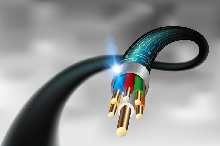 Hög hastighet fiberoptisk kabel på nära håll
