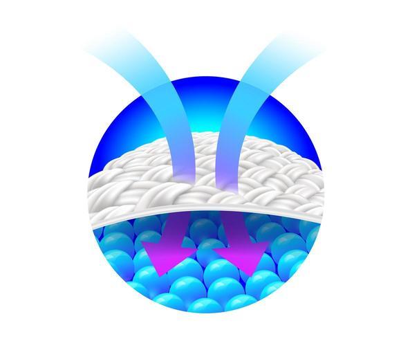 Pijl die ventilatie op stof toont vector