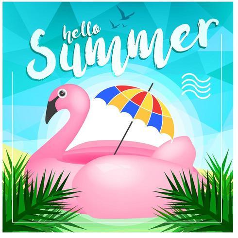 Flamingo-Sommer-Tageshintergrund vektor