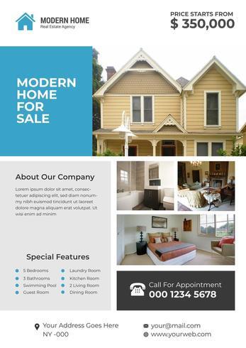 Modern huis Corporate onroerend goed Flyer Design vector