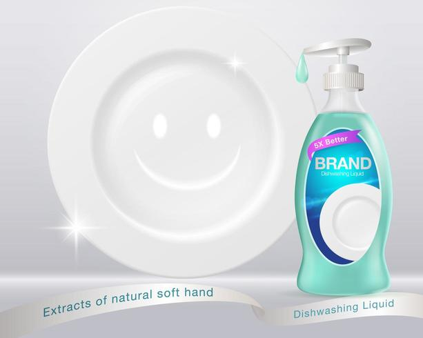 Afwasmiddel en schoon bordconcept vector