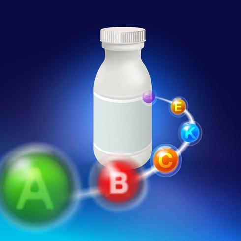 Lege witte plastic pillenfles met vitaminesymbolen vector