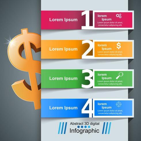 Zakelijke infographics. Dollar, geld pictogram. vector