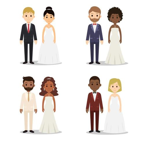 Collection of wedding couple character set