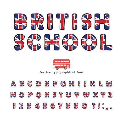 Britse school lettertype. Groot-Brittannië UK nationale vlag kleuren