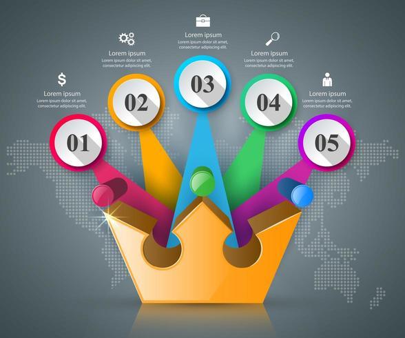 Kroon pictogram. Zakelijke abstracte infographics. vector
