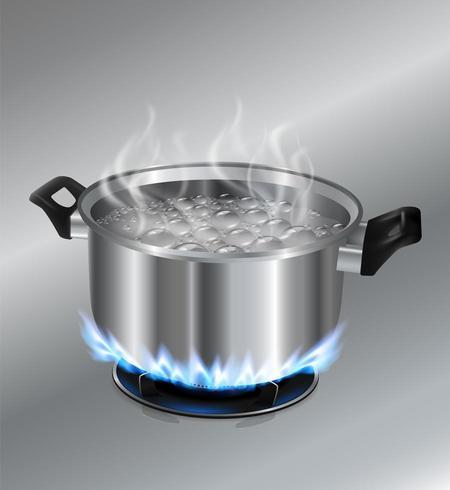 Rostfritt stål gryta med kokande vatten på gasspisen vektor