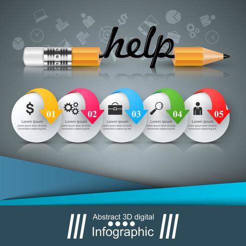 Matita, educazione, aiuto, icona idea. Infografica di affari.
