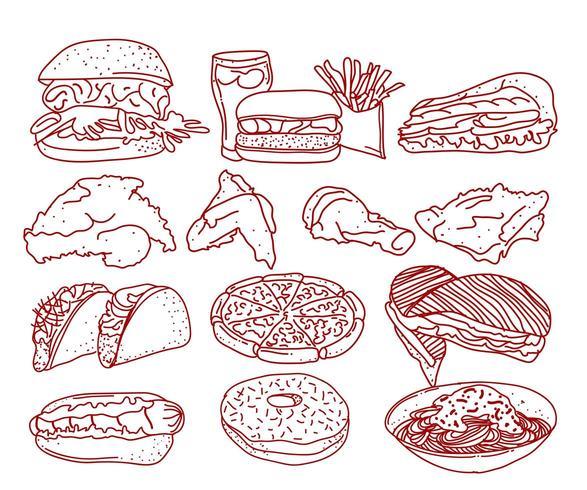 Fast-Food-Linie Kunstsammlung vektor
