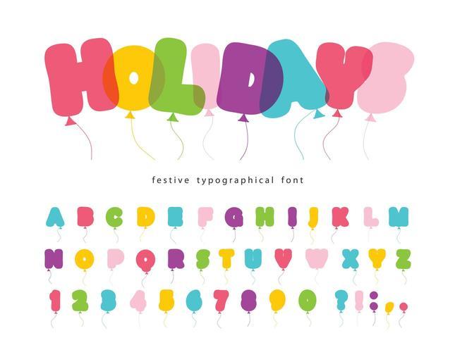 Ballon komisch lettertype voor kinderen. vector