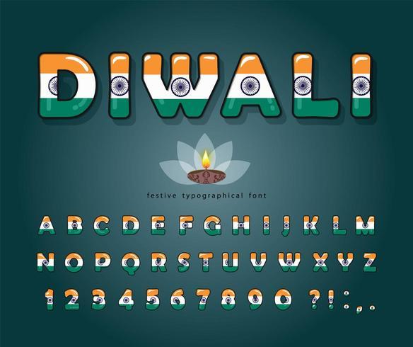 Diwali cartoon lettertype. Indiase nationale vlag kleuren. vector