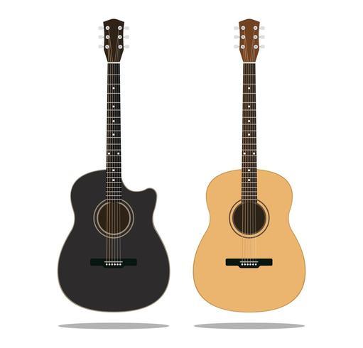 Zwarte en bruine houten gitaren set vector